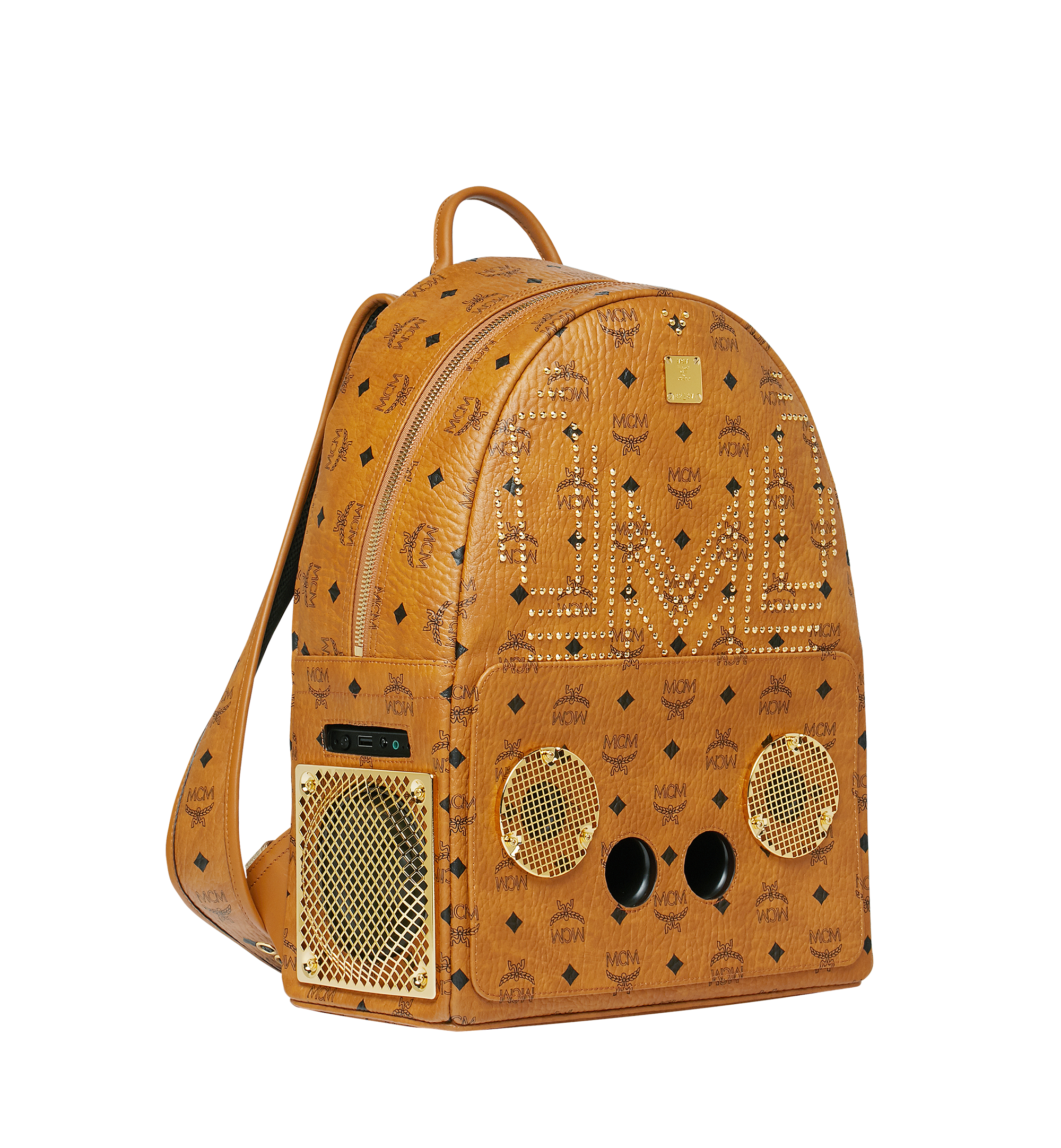 MCM MCM x WizPak Studded Backpack in Visetos Cognac MMK8AOC86CO001 Alternate View 2
