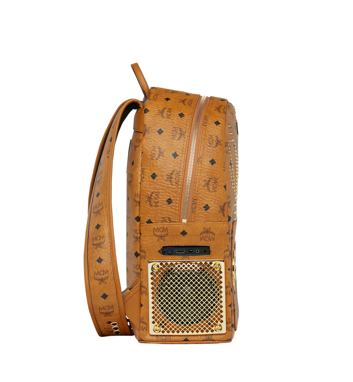 MCM MCM x WizPak Studded Backpack in Visetos Cognac MMK8AOC86CO001 Alternate View 3