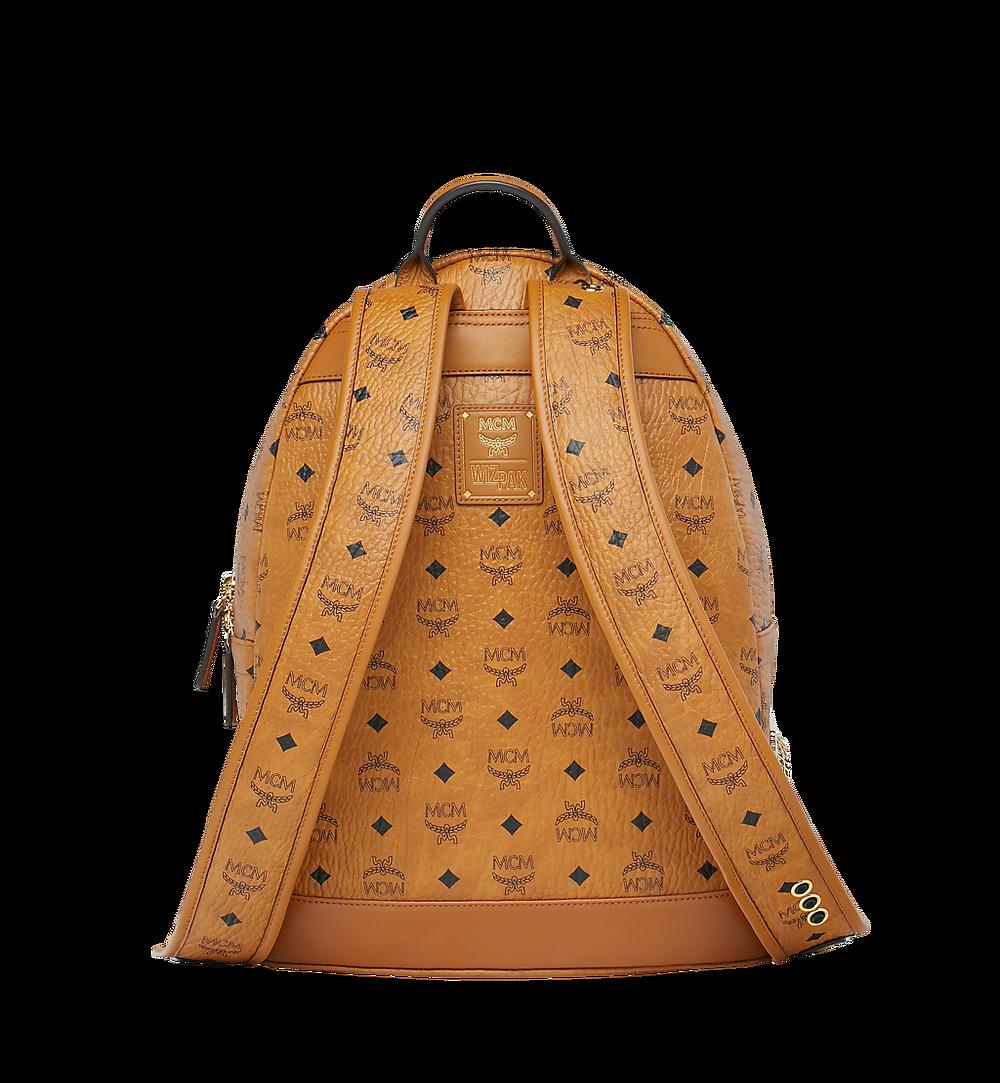 MCM MCM x WizPak Studded Backpack in Visetos Cognac MMK8AOC86CO001 Alternate View 3