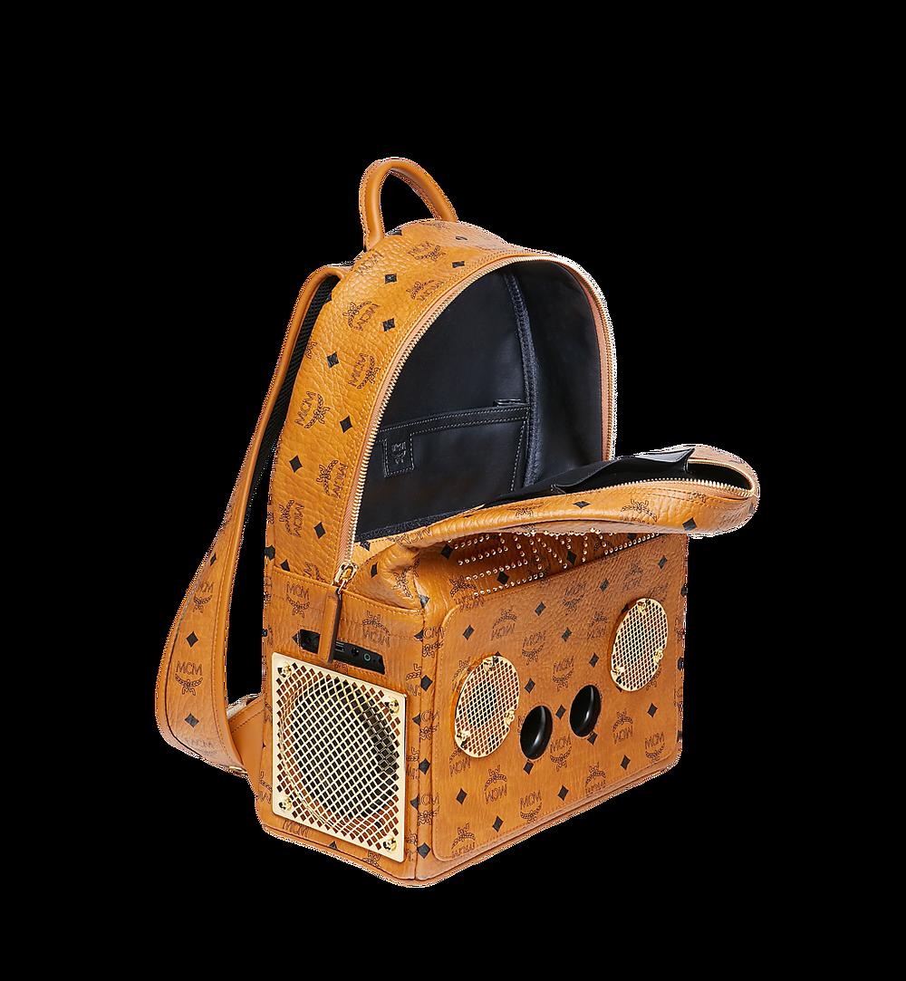 MCM MCM x WizPak Studded Backpack in Visetos Cognac MMK8AOC86CO001 Alternate View 4