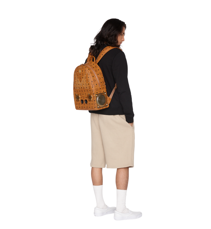 MCM MCM x WizPak Studded Backpack in Visetos Cognac MMK8AOC86CO001 Alternate View 6