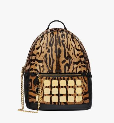 Stark Logo Plate Backpack in Leopard Haircalf