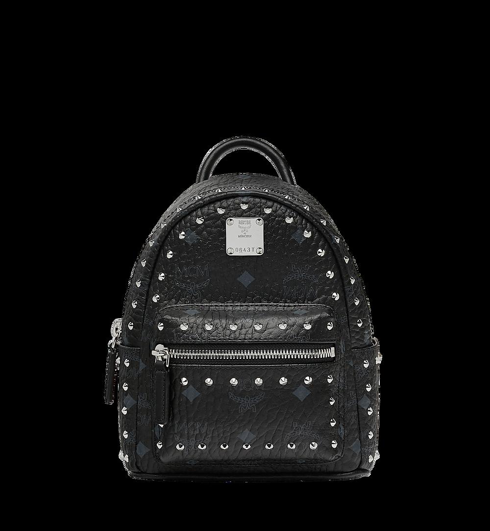 MCM Stark Bebe Boo Backpack in Studded Outline Visetos Black MMK8AVE04BK001 Alternate View 1