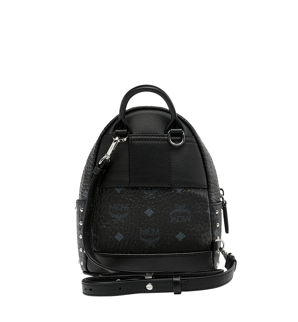 MCM Stark Bebe Boo Backpack in Studded Outline Visetos Black MMK8AVE04BK001 Alternate View 5