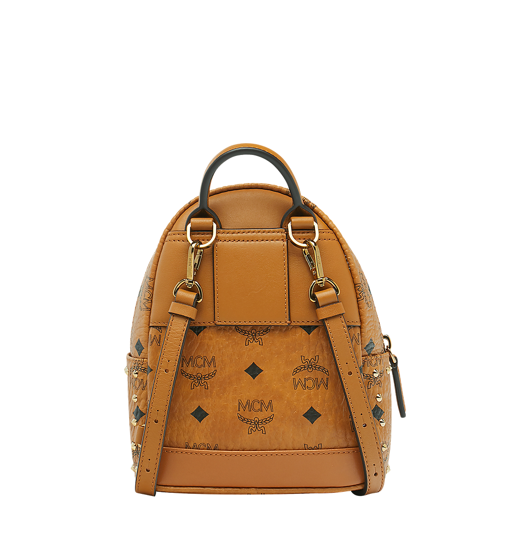 MCM Stark Bebe Boo Backpack in Studded Outline Visetos Cognac MMK8AVE04CO001 Alternate View 3
