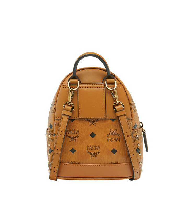 MCM Stark Bebe Boo Backpack in Studded Outline Visetos Cognac MMK8AVE04CO001 Alternate View 4