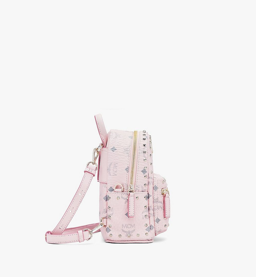MCM Stark Bebe Boo Backpack in Studded Visetos Pink MMK8AVE04QH001 Alternate View 1