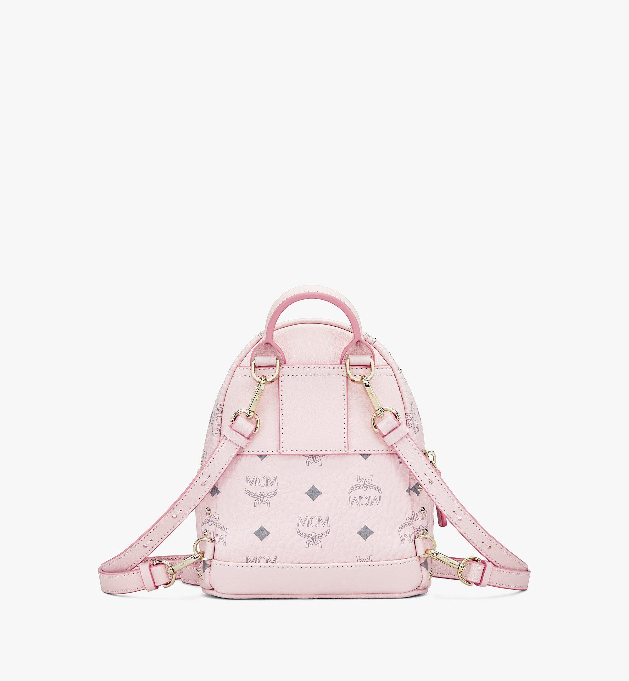 MCM Stark Bebe Boo Backpack in Studded Visetos Pink MMK8AVE04QH001 Alternate View 3