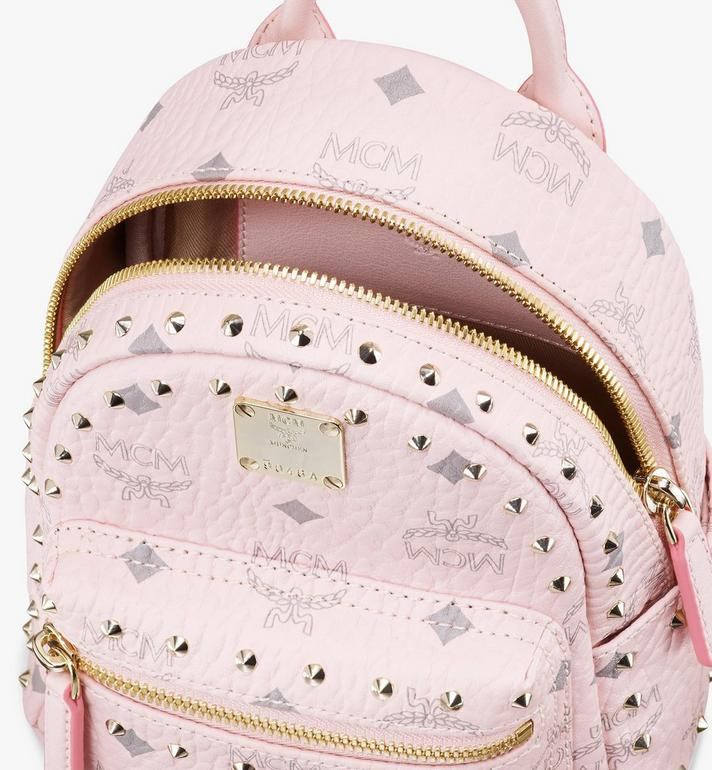 MCM Stark Bebe Boo Backpack in Studded Visetos Pink MMK8AVE04QH001 Alternate View 4