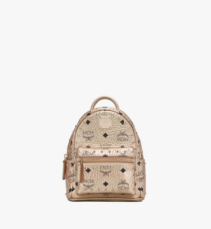 MCM Stark Bebe Boo Backpack in Studded Visetos Gold MMK8AVE05T1001 Alternate View 1