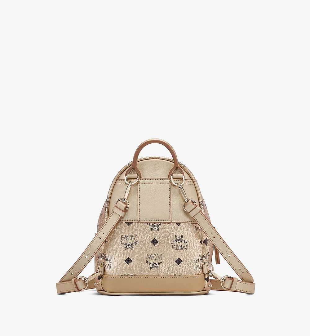 MCM Stark Bebe Boo Backpack in Studded Visetos Gold MMK8AVE05T1001 Alternate View 2