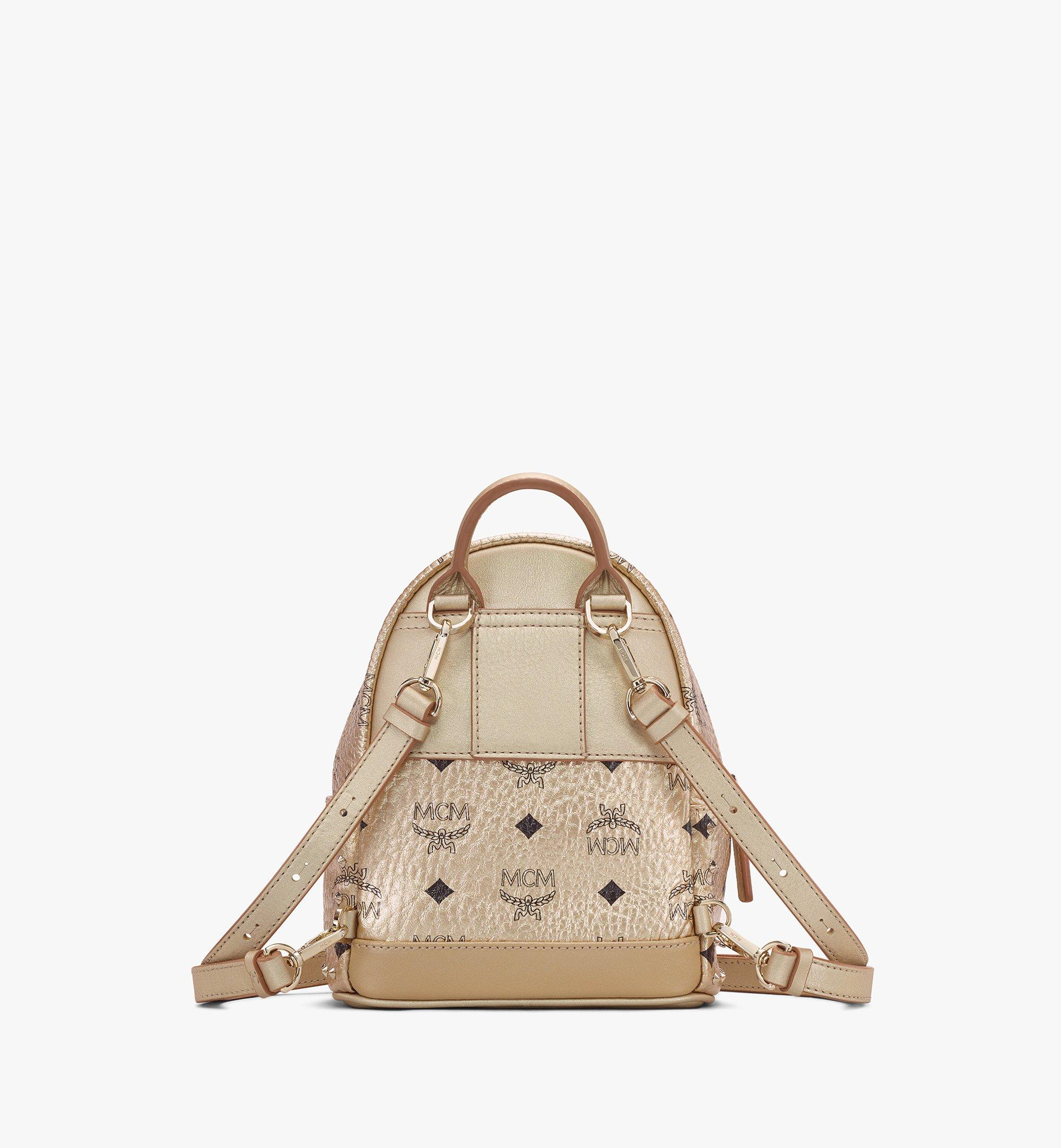 MCM Stark Bebe Boo Backpack in Studded Visetos Gold MMK8AVE05T1001 Alternate View 3