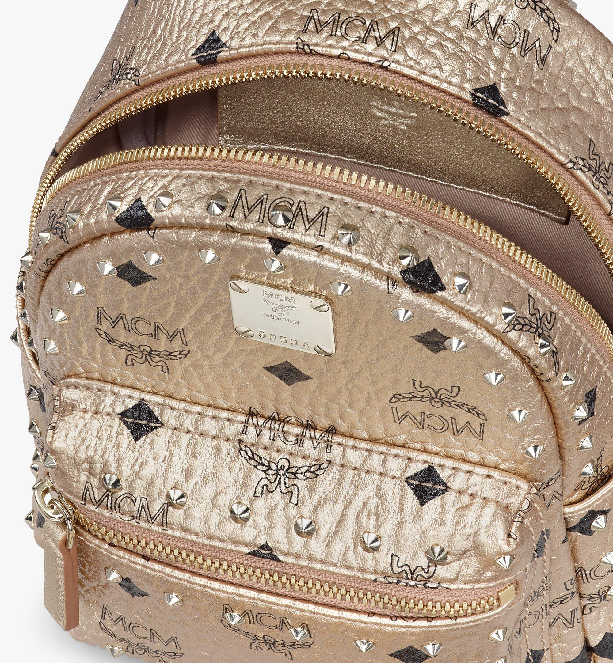 MCM Stark Bebe Boo Backpack in Studded Visetos Gold MMK8AVE05T1001 Alternate View 4