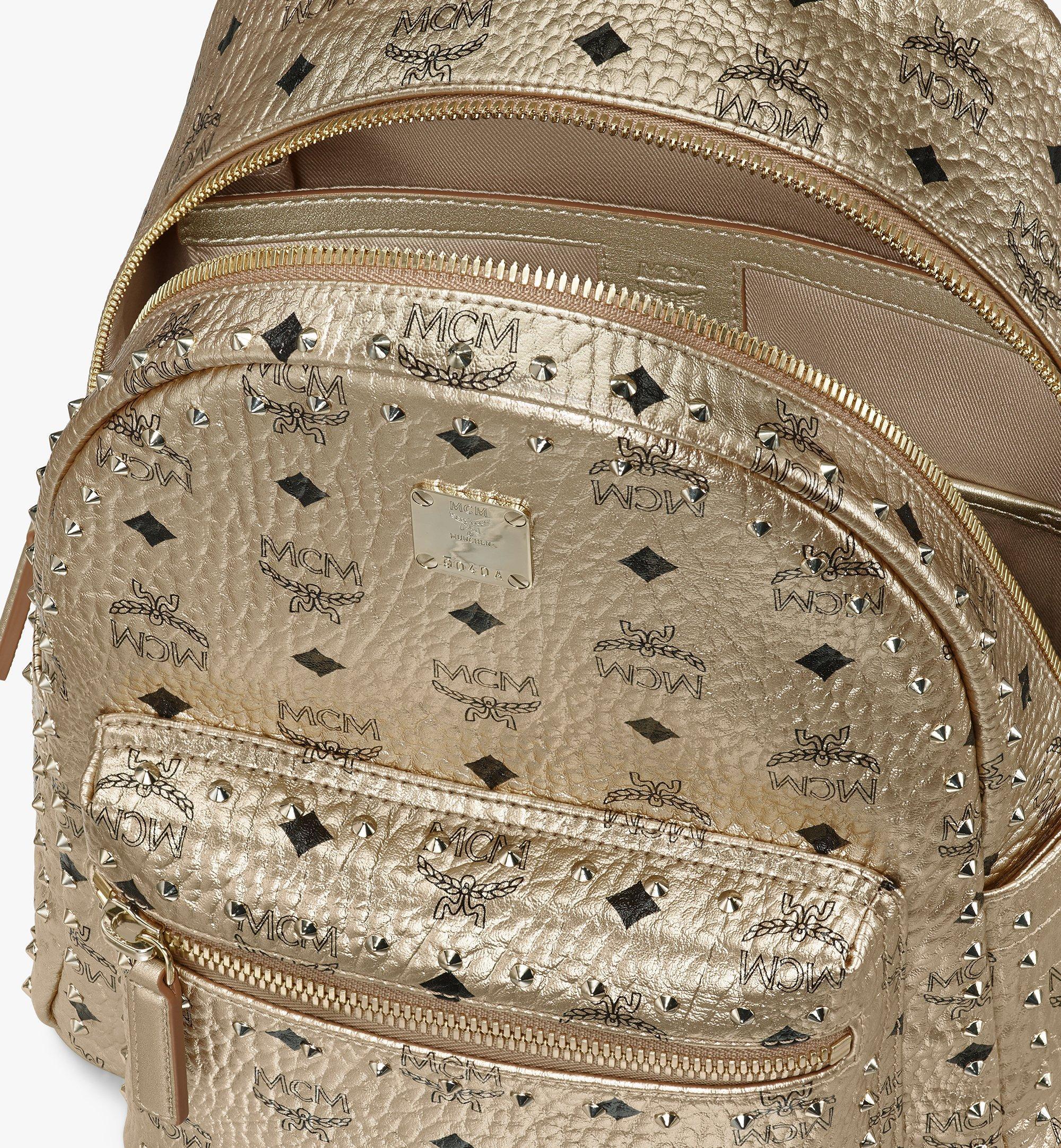 MCM Visetos 皮革的 Stark 鉚釘後背包 Gold MMK8AVE40T1001 更多視圖 3