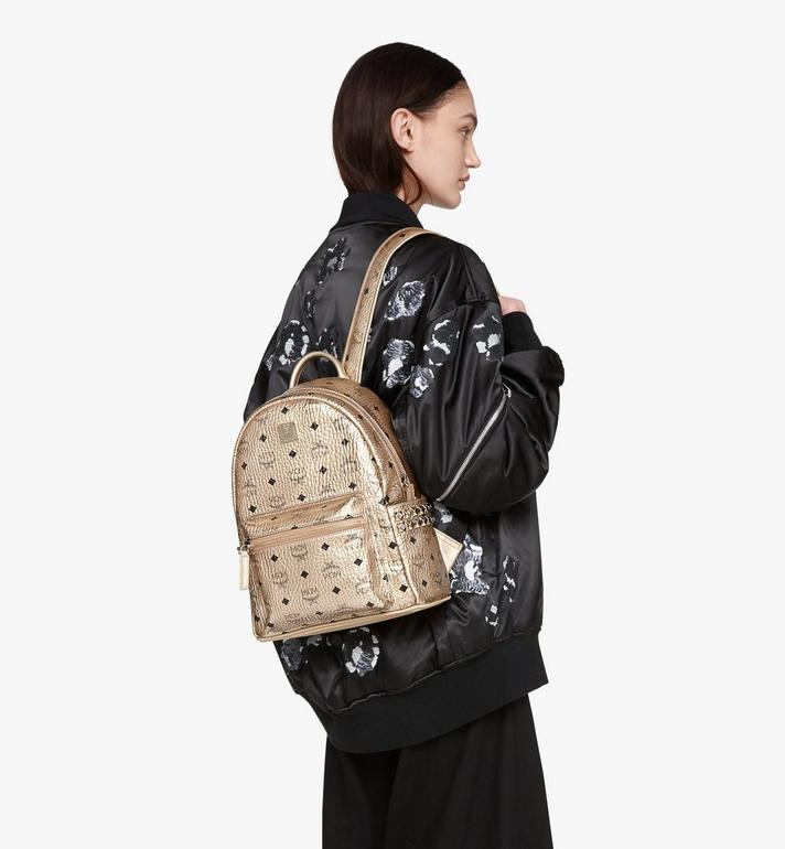MCM Stark Side Studs Backpack in Visetos Gold MMK8AVE43T1001 Alternate View 5