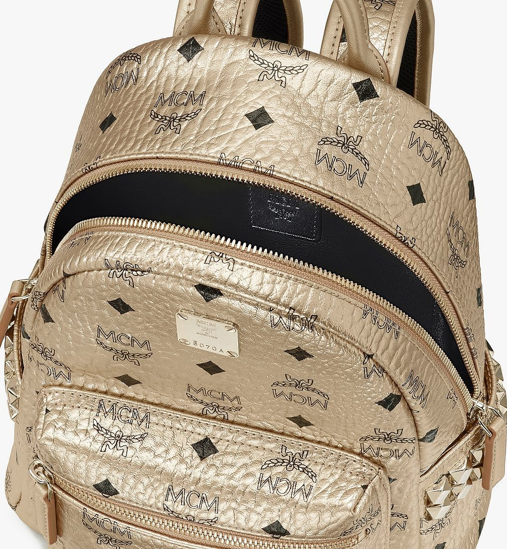MCM Stark Side Studs Backpack in Visetos Gold MMK8AVE47T1001 Alternate View 3