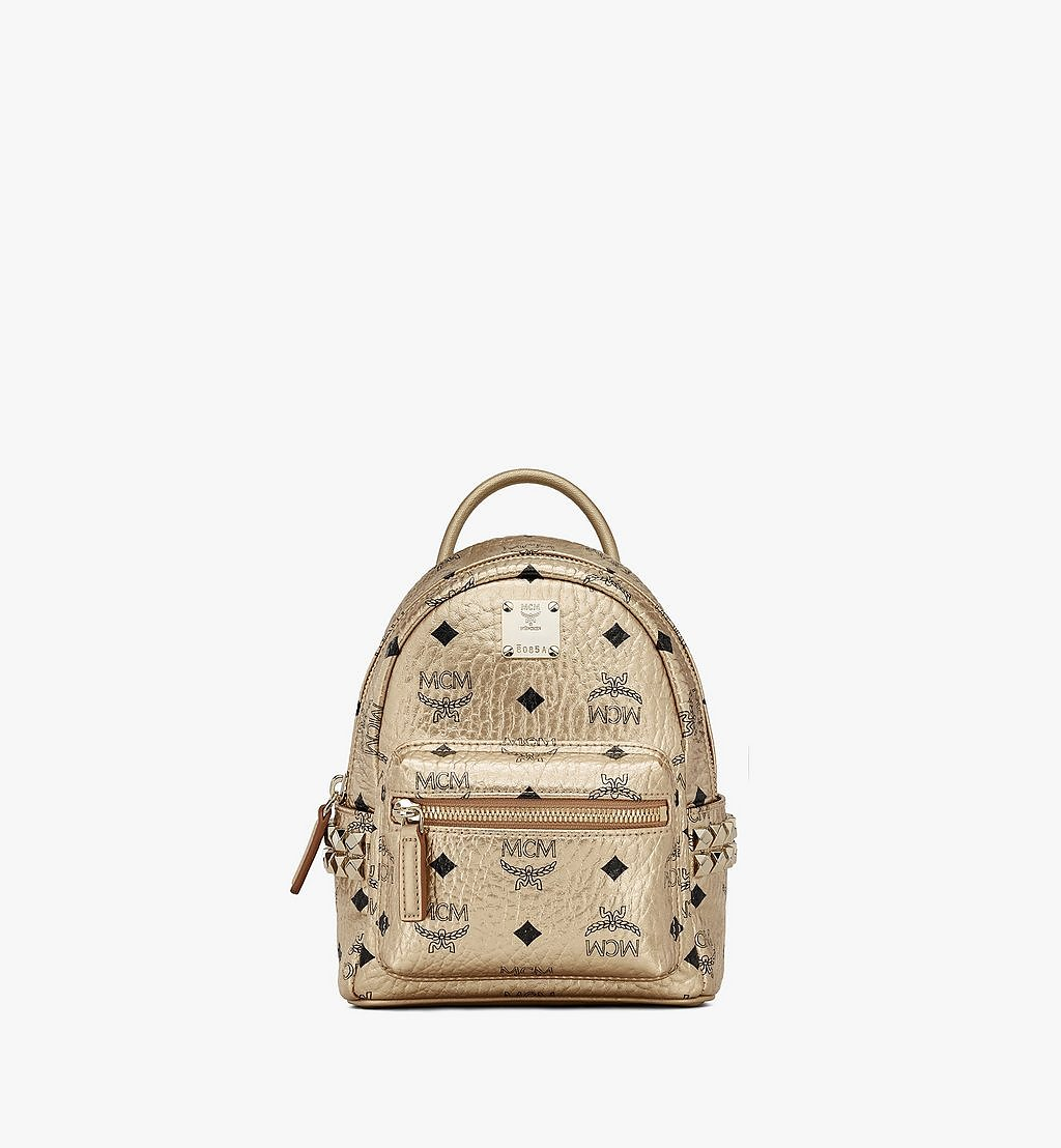 MCM Stark Bebe Boo Side Studs Backpack in Visetos Gold MMK8AVE50T1001 Alternate View 1