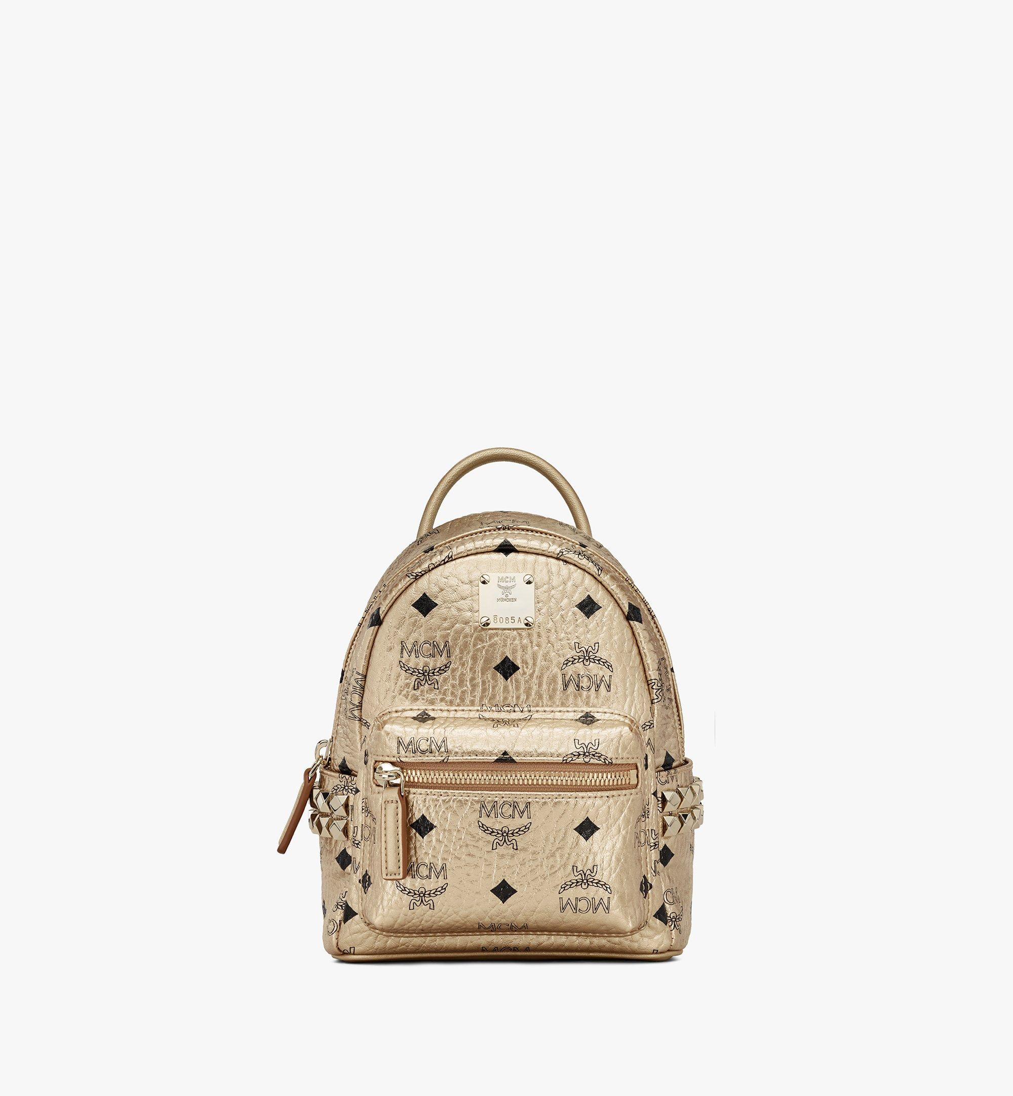 MCM Stark Bebe Boo Backpack in Visetos Gold MMK8AVE50T1001 Alternate View 1