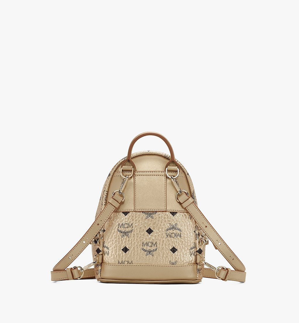 MCM Stark Bebe Boo Side Studs Backpack in Visetos Gold MMK8AVE50T1001 Alternate View 2