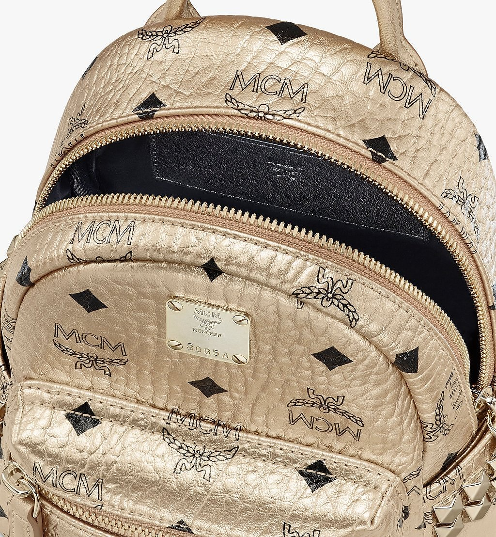 MCM Stark Bebe Boo Side Studs Backpack in Visetos Gold MMK8AVE50T1001 Alternate View 3