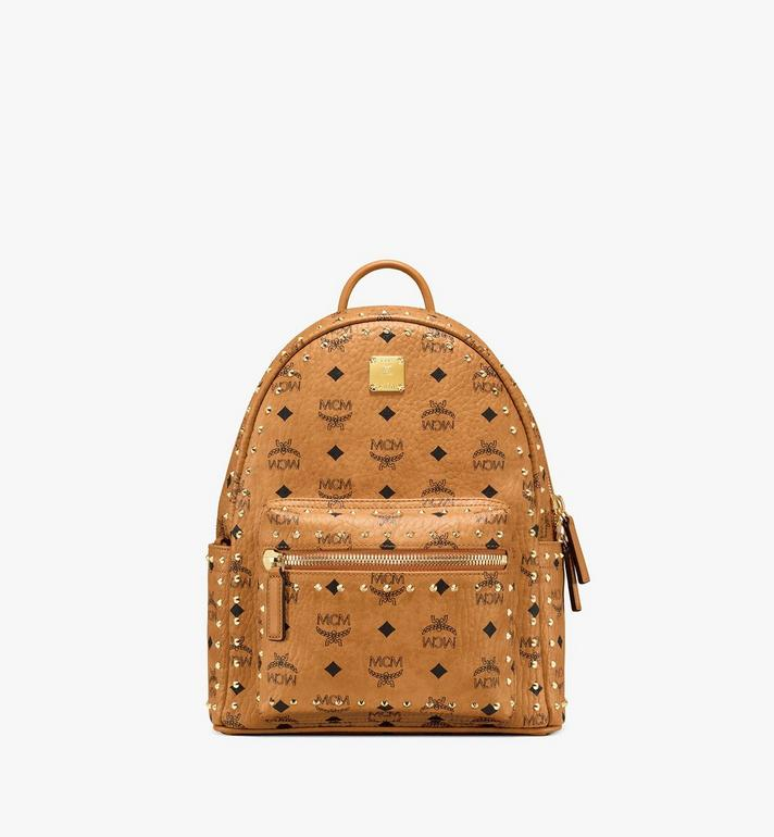 MCM Stark Backpack in Studded Outline Visetos Cognac MMK8AVE61CO001 Alternate View 1