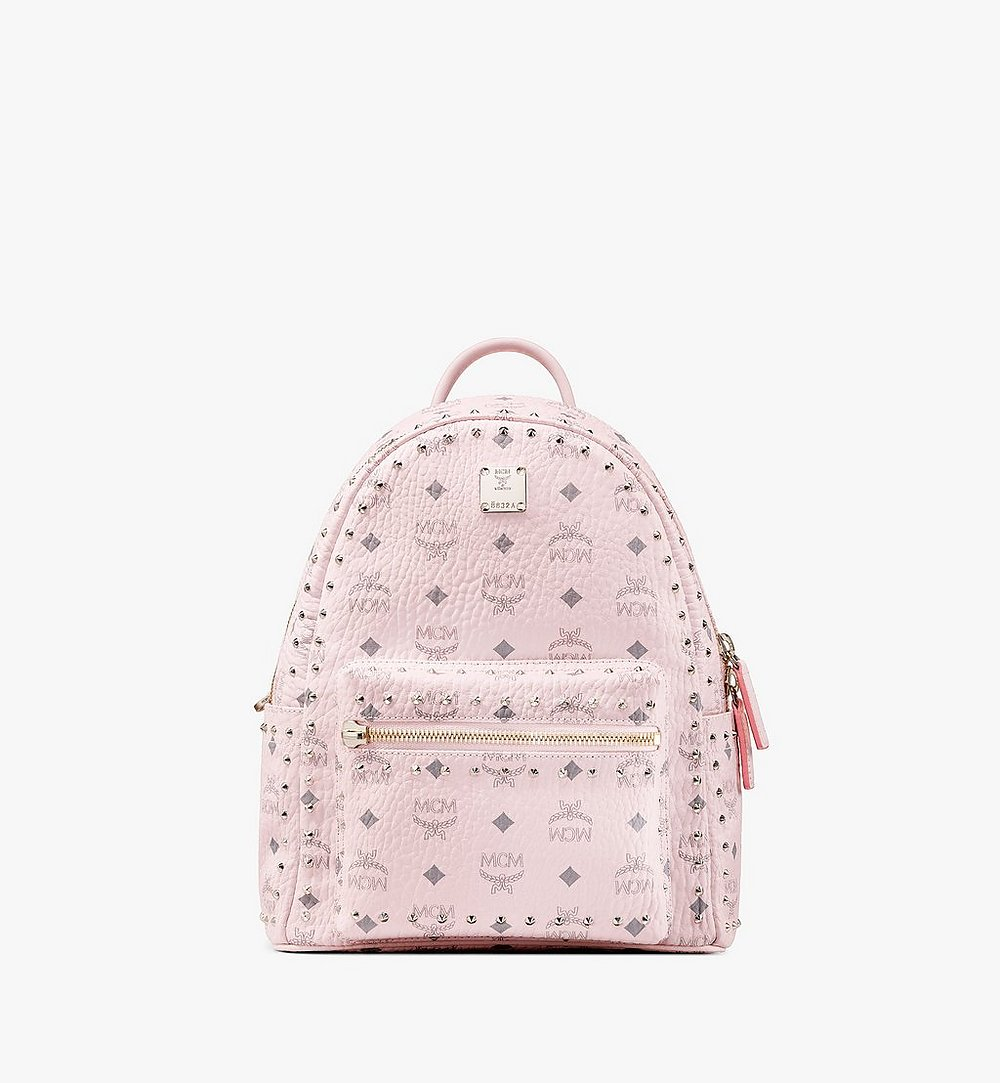 MCM Stark Backpack in Studded Visetos Pink MMK8AVE61QH001 Alternate View 1
