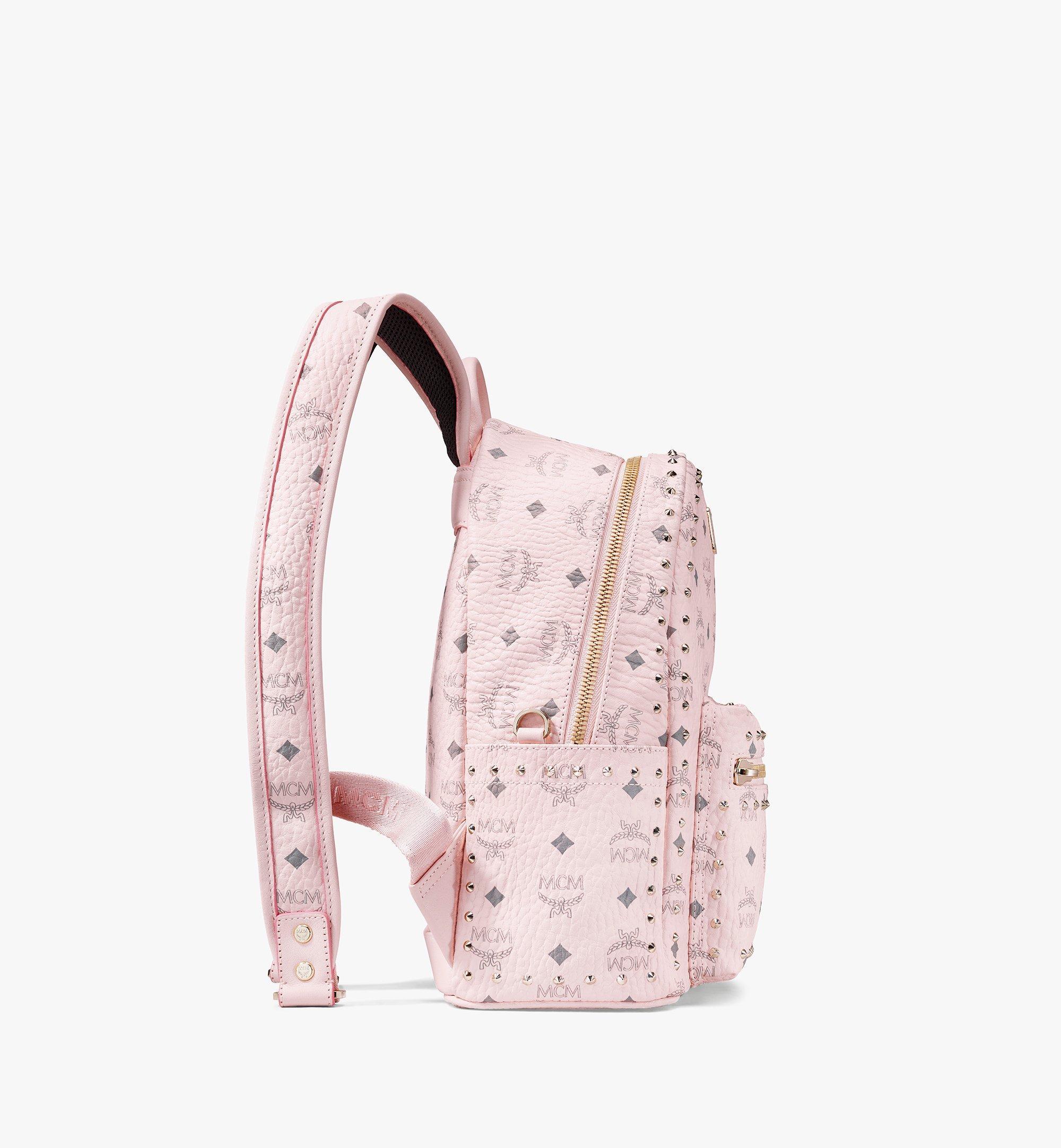 MCM Visetos 皮革的 Stark 鉚釘後背包 Pink MMK8AVE61QH001 更多視圖 1