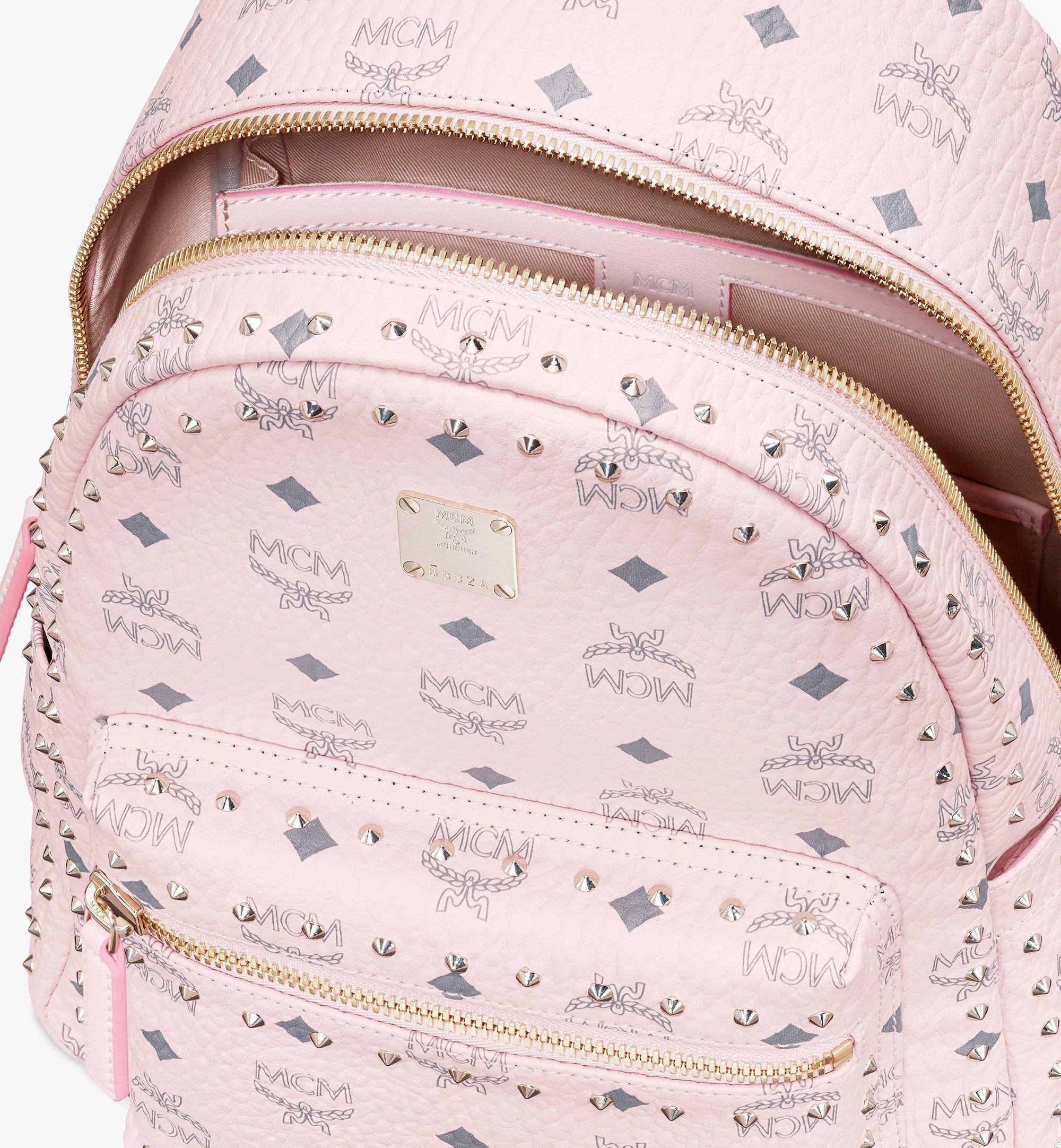 MCM Visetos 皮革的 Stark 鉚釘後背包 Pink MMK8AVE61QH001 更多視圖 3