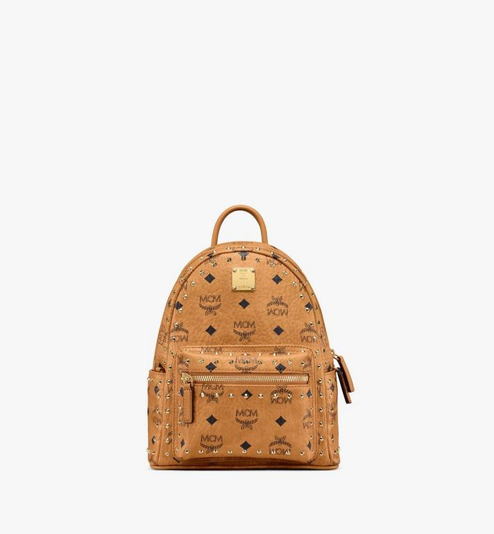 MCM Stark Backpack in Studded Outline Visetos Cognac MMK8AVE62CO001 Alternate View 1