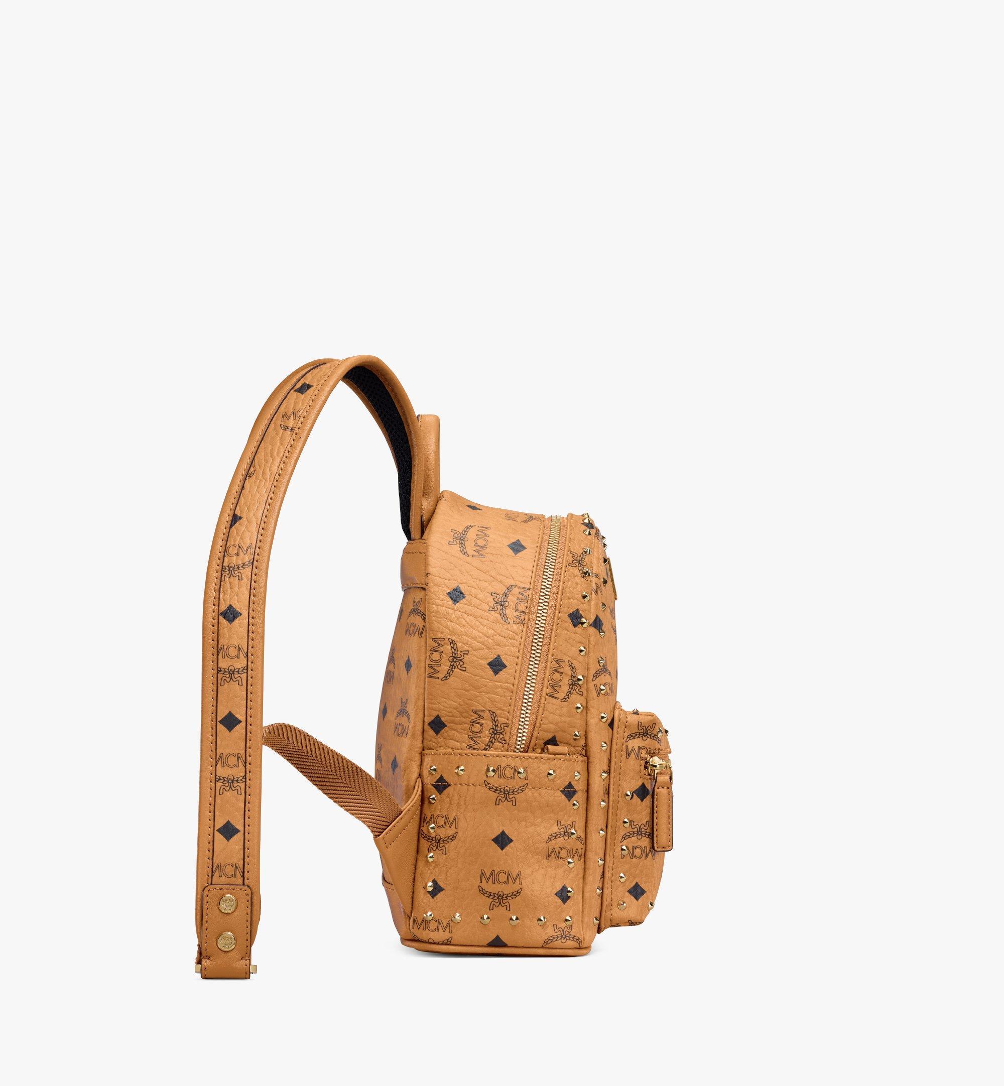MCM Stark Backpack in Studded Outline Visetos Cognac MMK8AVE62CO001 Alternate View 1
