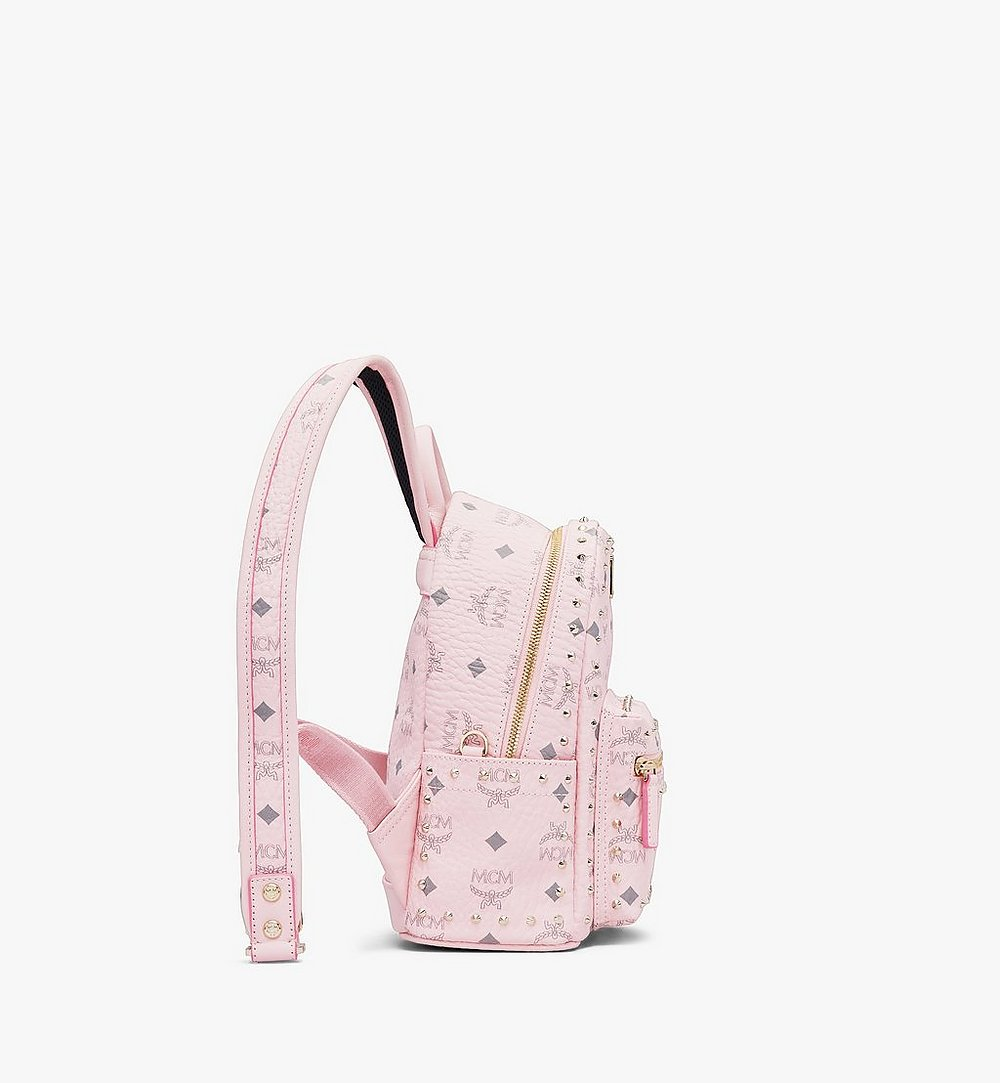 MCM Stark Backpack in Studded Visetos Pink MMK8AVE62QH001 Alternate View 1