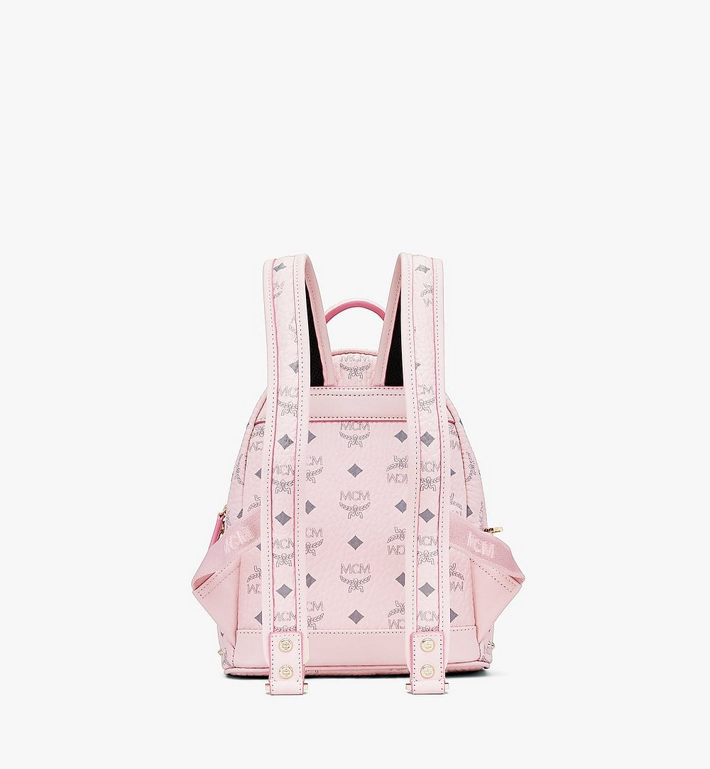 MCM Stark Backpack in Studded Visetos Pink MMK8AVE62QH001 Alternate View 2