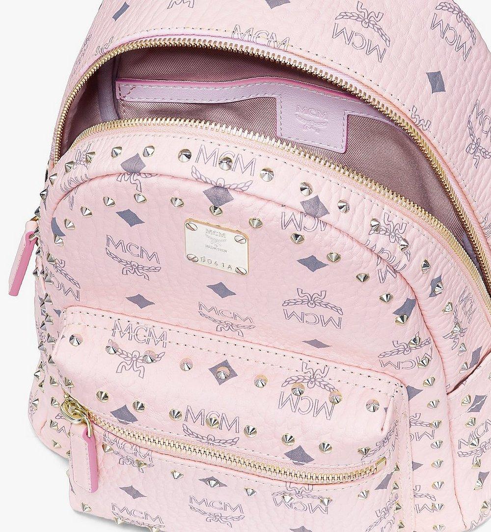 MCM Visetos 皮革的 Stark 鉚釘後背包 Pink MMK8AVE62QH001 更多視圖 3
