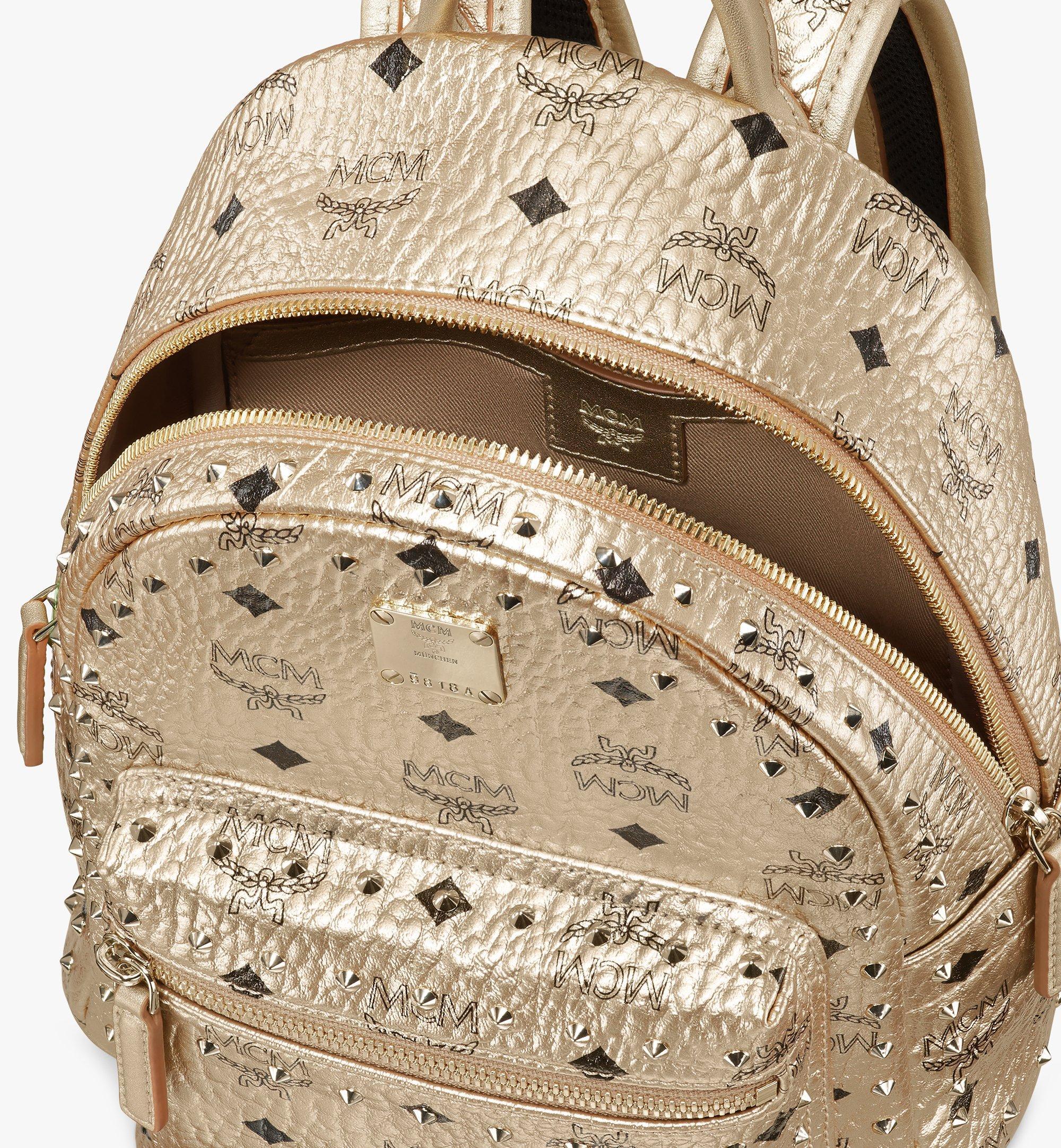 MCM Visetos 皮革的 Stark 鉚釘後背包 Gold MMK8AVE66T1001 更多視圖 3