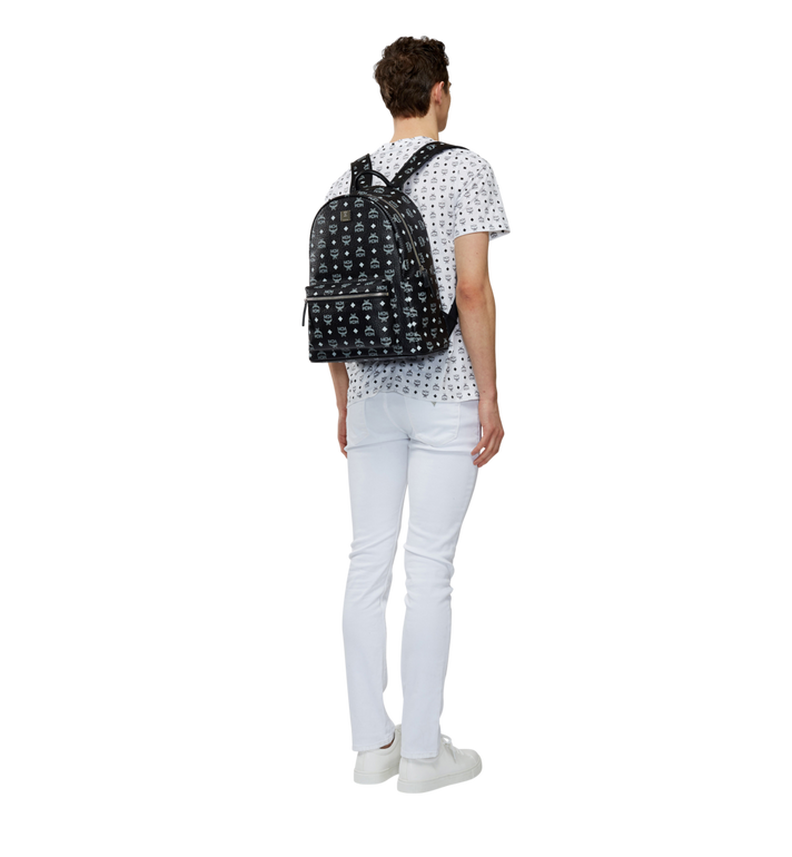 MCM Stark White Logo Backpack in Visetos MMK8SVE48BV001 AlternateView6