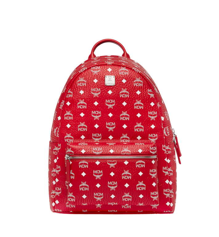 MCM Stark White Logo Backpack in Visetos AlternateView1