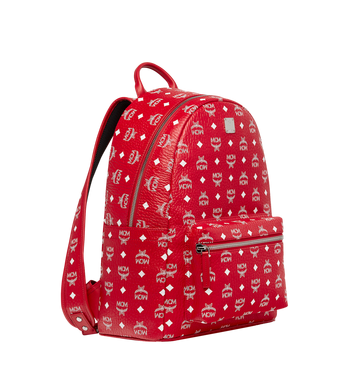 MCM Stark White Logo Backpack in Visetos Alternate View 2