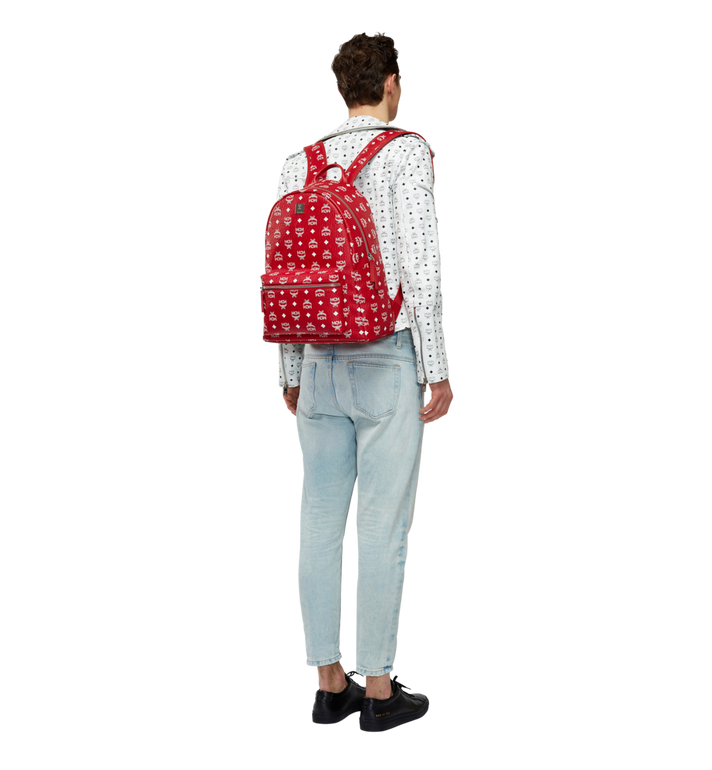 MCM Stark White Logo Backpack in Visetos AlternateView6