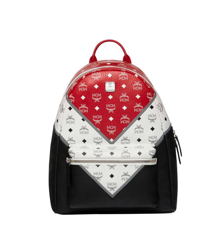 MCM Stark Chevron Backpack in Visetos Colorblock Leather Alternate View