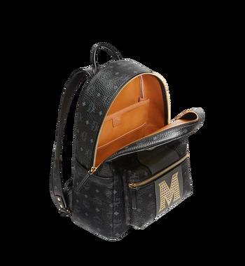 MCM Stark Logo Stripe Backpack in Visetos MMK8SVE82BK001 AlternateView5