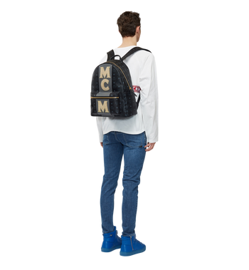 MCM Stark Logo Stripe Backpack in Visetos MMK8SVE82BK001 AlternateView6