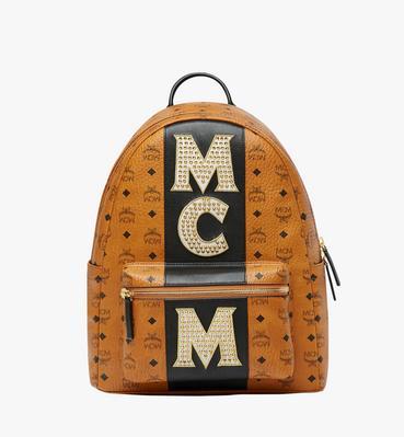 40 cm 16 in Stark Logo Stripe Backpack in Visetos Cognac
