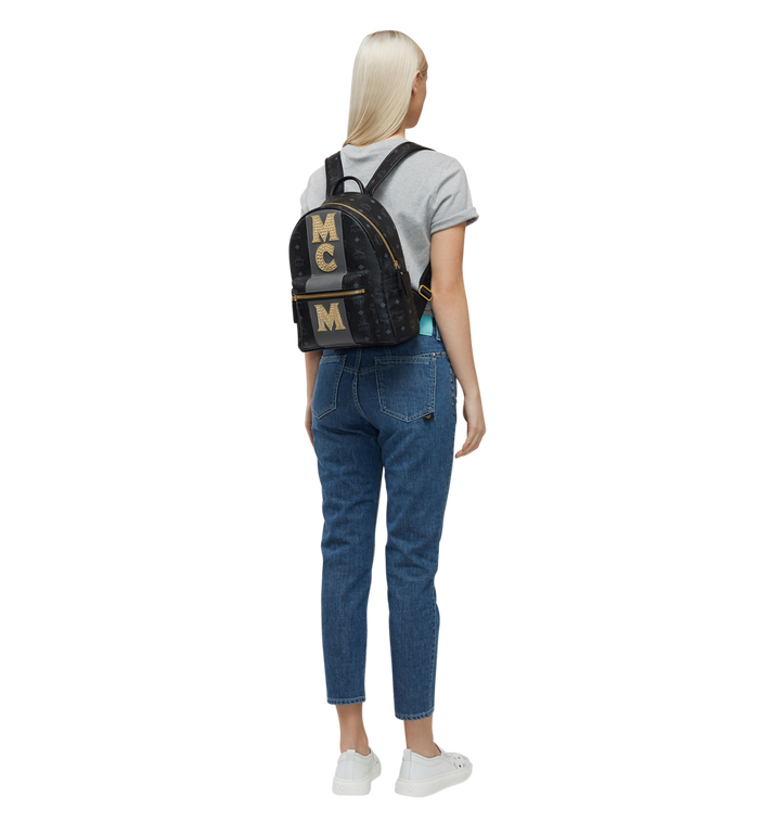 MCM Stark Logo Stripe Backpack in Visetos MMK8SVE84BK001 AlternateView6