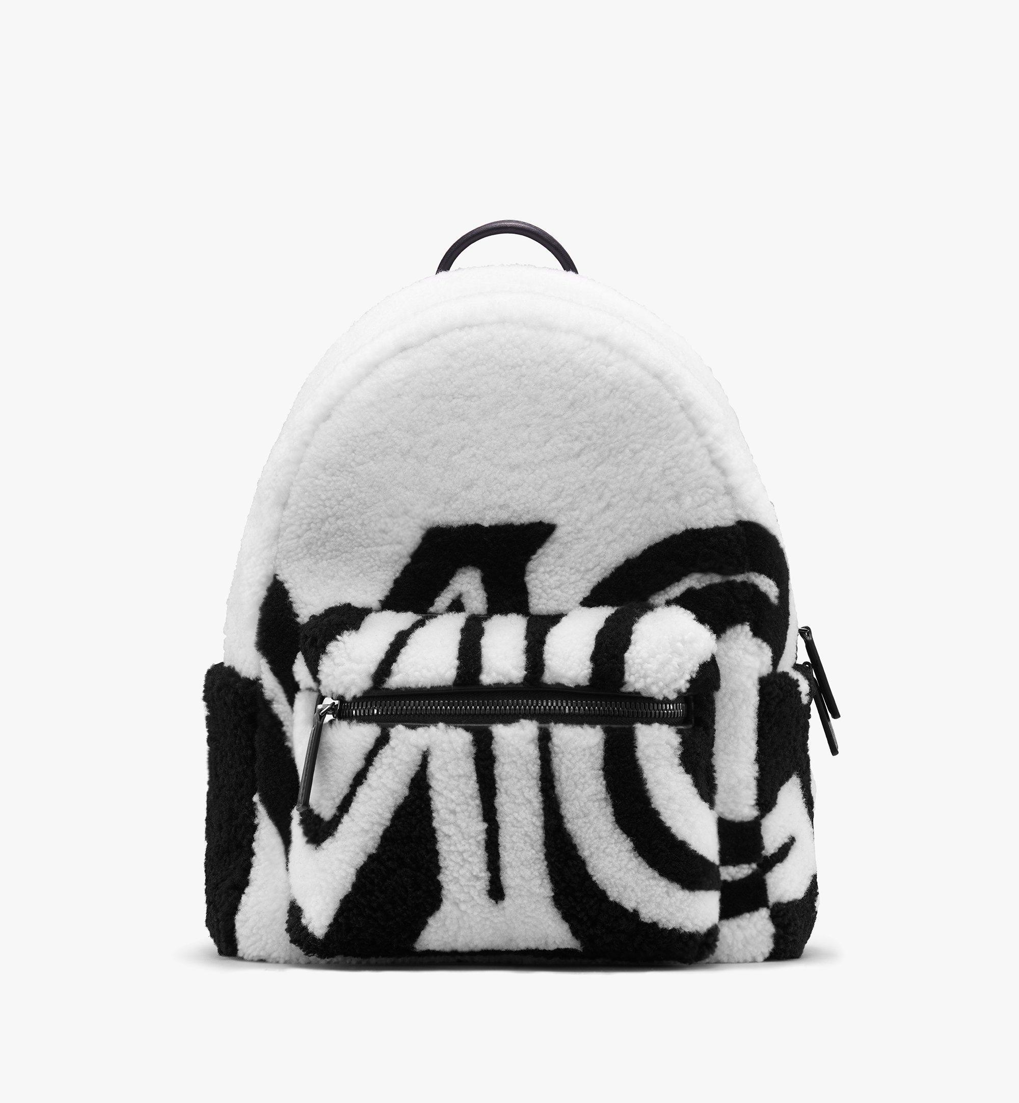 MCM Sac à dos Stark en peau de mouton avec logo contrastant  MMK9AVE17WD001 Alternate View 1