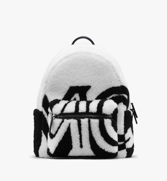 MCM Stark Backpack in Contrast Logo Shearling Alternate View
