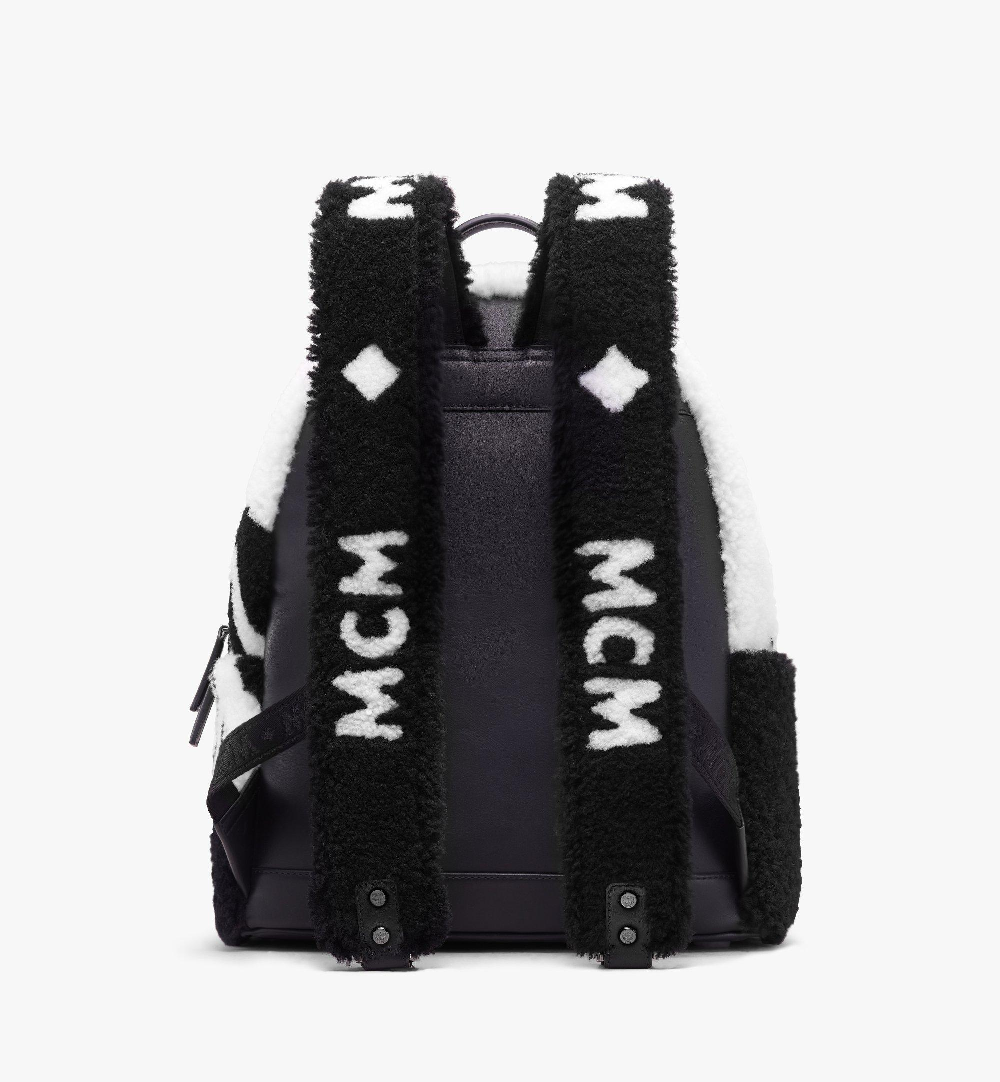 MCM Stark Backpack in Contrast Logo Shearling  MMK9AVE17WD001 Alternate View 3