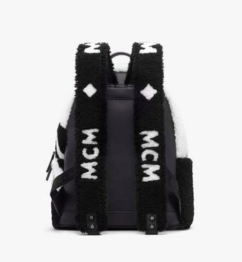 MCM Stark Backpack in Contrast Logo Shearling Alternate View 3