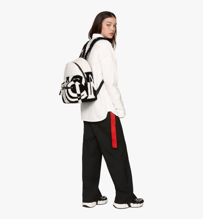 MCM Stark Backpack in Contrast Logo Shearling White MMK9AVE17WD001 Alternate View 7