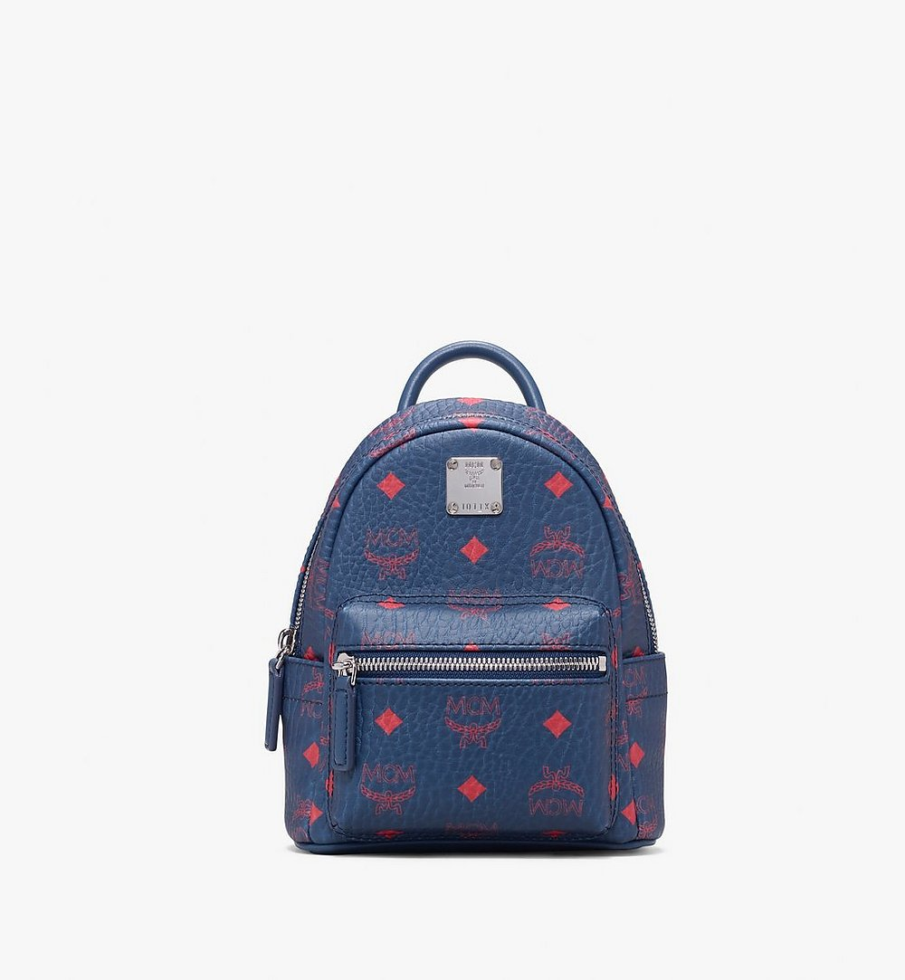 MCM Stark Bebe Boo Backpack in Visetos Blue MMK9AVE33VS001 Alternate View 1