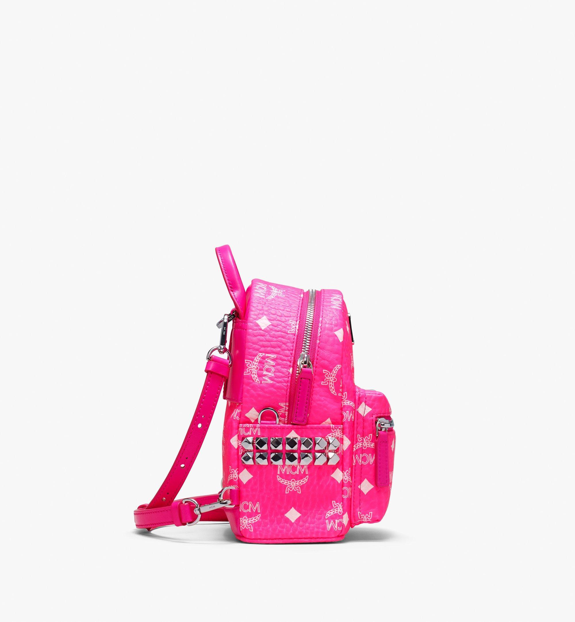 20 cm 8 in Stark Rucksack in Neon Visetos Neon Pink | MCM® DE